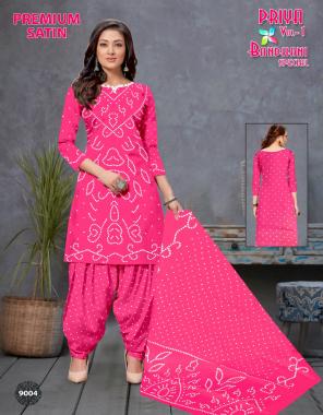 pink top - satin cotton 2.30 m   bottom - cotton 2.00 m   dupatta - cotton 2.15 m fabric printed work casual