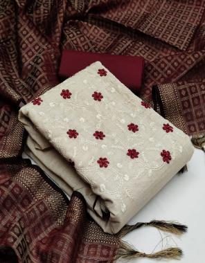 maroon top- khadi cotton | bottom - cotton | dupatta - banarasi jacquard  fabric embroidery + stone work work casual