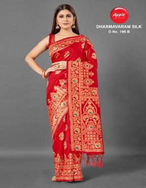 red silk fabric jaquard + weaving work casual
