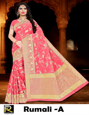pink soft cotton fabric jacqurd + weaving work casual
