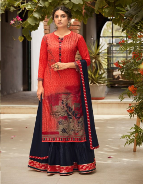 red top - pure digital rayon print   lehenga - cambric cotton jacquard border with gotta less   dupatta - chinon dupatta with gota less fabric digital printed work casual