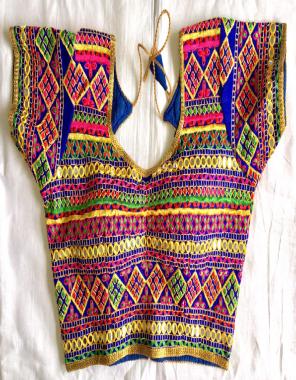blue heavy silk  fabric chokdi gamthi | foil mirror + thread work work casual