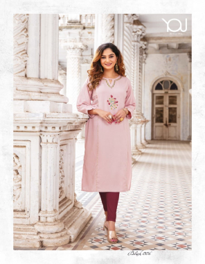 baby pink finest quality of luxury rayon printed heavy pure quality fabric printed+ embroidery work casual