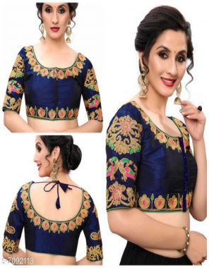 navy blue fantom with fusing    sleeves - 12 inch 3/4 fabric embroidery work casual