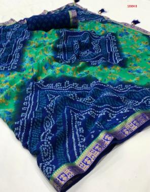 blue chiffon with border jari & tassele fabric printed work casual