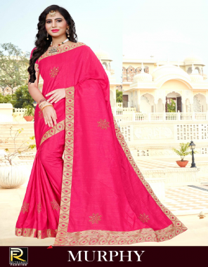 pink dola silk fabric atteched stone work work casual
