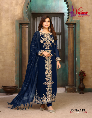 navy blue top - foux georgette   inner / bottom - santool   dupatta - jacquard  fabric embroidery work casual