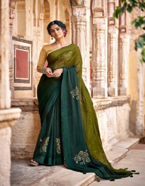 dark green chiffon  fabric printed +fancy work work casual