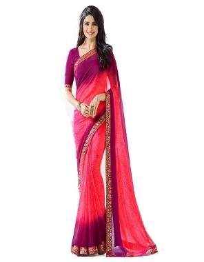 pink saree - georgette with jacquard lace   blouse - banglori silk digital print less [ master copy ] fabric printed work casual