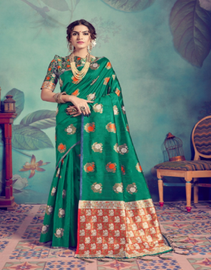 dark green banarasi tussar silk fabric jacquard work casual