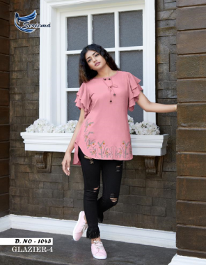 pink heavy rayon 14kg  fabric stylish embroidery work casual