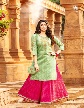 parrot green top - lurex silk top with pure cotton liners full length and thread work and hand work   bottom - pure silk & cotton skirt with fancy gold print border fabric thread work + hand work work casual