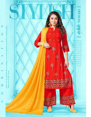 red rayon 14kg concept flaired top gold print with hand work with plazzo and dupatta  fabric gold print work casual