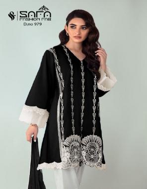 black top - pure georgette | bottom - cotton strachable | dupatta - designer | inner - pure santoon fabric embroidery work casual