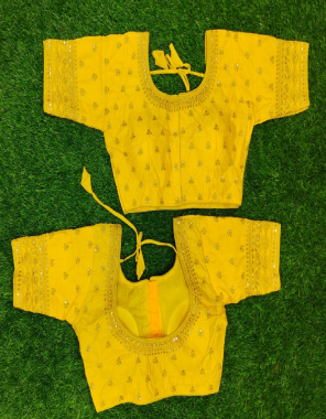 yellow fantom fabric embroidery work casual