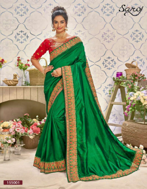 dark green very heavy dupion silk ( rich fabric ) with heavy embroidery border | blouse - silk with heavy embroidery work fabric embroidery work casual