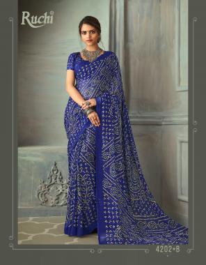 blue chiffon  fabric bandhej printed work casual
