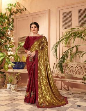 maroon vichira silk fabric foil printed work casual