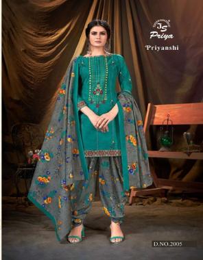 rama blue pure cotton | top - 2.0 m | bottom - 2.50 m | dupatta - 2.25 m fabric printed work casual