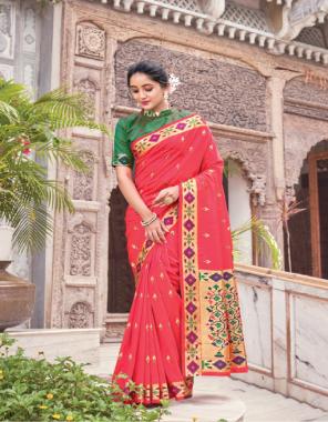 pink silk fabric jacquard weaving work casual