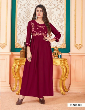 maroon magic rayon 14kg with heavy embroidery work with hand work fabric embroidery work casual