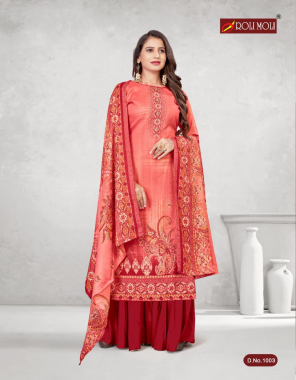 red top - pashmina ( heavy spun ) print with wodden button ( 2.50 m approx ) | bottom - heavy spun ( 2.60 m approx ) | dupatta - twill shawl printed ( 2.25 m approx ) fabric printed work casual
