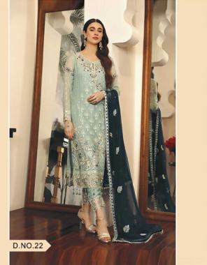 pastel green top - heavy butterfly net with stone work ( with embroidery ) | bottom/ inner - dual santoon |dupatta - heavy butterfly net with heavy work [ pakistani copy ] fabric embroidery work casual