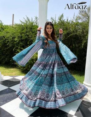 sky blue gown - chanderi | dupatta - soft chanderi | gown length - 56 inch | gown flair - 4.75 m | dupatta length - 2.15 m fabric digital print with ethnic pattern work casual