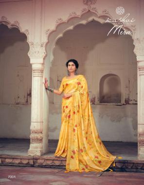 yellow chiffon  fabric rimzim with zari border + printed work casual