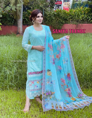 sky blue top - heavy cambric chickenkari heavy embroidered   bottom - semi lawn with embroidery   dupatta - chiffon digital print with lace [ paksitani copy ] fabric heavy embroidery work casual