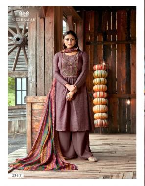 purple top - pure pashmina print with fancy placement embroider ( 2.50 m)   dupatta - kobra silk digital print excellent premium quality ( 2.50 m)   bottom - european spun pashmina ( 3.00m)  fabric printed + embroidery work casual
