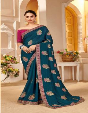 rama blue vichitra silk  fabric embroidery work running