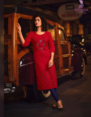 red rayon malai  fabric hand work & embroidery work casual