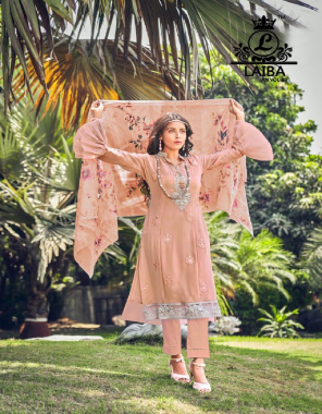 pink top - pure georgette | pant - pure cotton sartin streachable | dupatta - pure chiffon with digital print  fabric embroidery work party wear