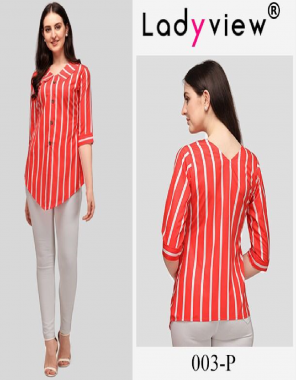 red heavy american crape with decent digital print | length - 24 to 26 inch fabric printed work casual