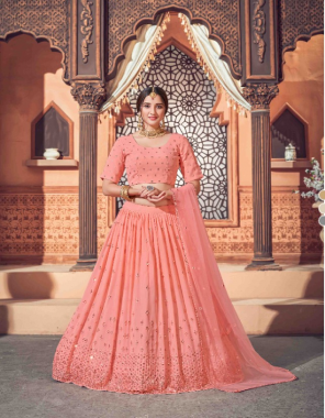 pink lehenga - georgette - length - 42 inch | choli - georgette - length - 1 m | dupatta - net - length - 2.30 m | size - semi - stitched - up to 42 bust and waist  fabric thread and sequance embroidered work wedding