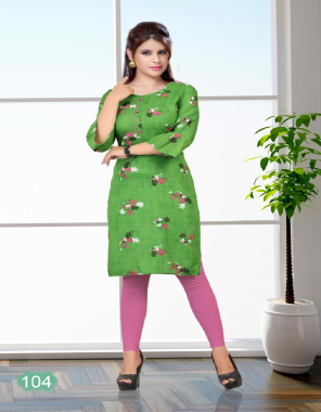 parrot green rayon | length - 40 inch fabric printed work casual