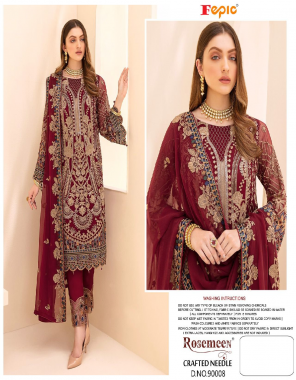red top - foux georgette heavy embroidery   bottom / inner - dull santoon   dupatta - nazmeen / chinon [ paksitani copy ] fabric heavy embroided work casual