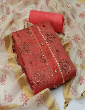 orange top - chanderi with foil work ( cut - 2 m) | bottom + inner - santoon ( cut - 3.60 m) | dupatta - chanderi print ( cut - 2.20 m)  fabric foil  work casual