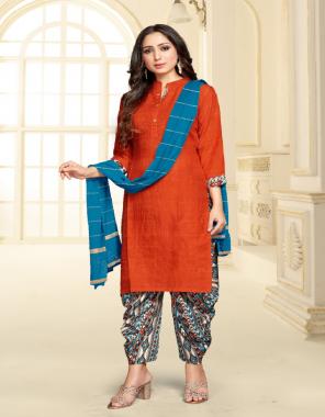 orange top - heavy vis rayon   bottom - crape digital print   dupatta - fancy weaving jari dupatta fabric digital printed work casual