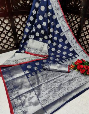 navy blue silk fabric jacquard + weaving work casual