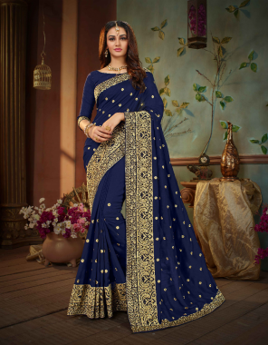navy blue vichitra silk [ master copy] fabric embroidery work casual
