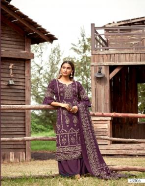 purple top - pure pasmina jacquard kani print ( 2.50 m)   dupatta - pure silk pasmina kani print stall excellent premium quality ( 2.50 m)   bottom - european spun pasmina ( 3.00 m) fabric printed work casual