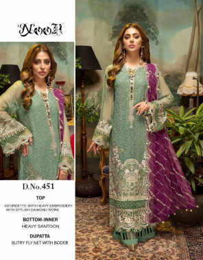 pastal green top - georgette with heavy embroidery   bottom /inner - dul shantun   dupatta - naznik ciffon with heavy embroidery with border n latkan [ pakistani copy ] fabric heavy embroidery work casual