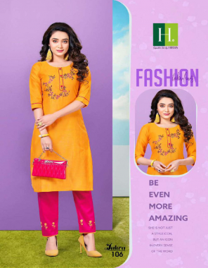 yellow top - banglori silk with hand work | bottom - cotton pant with embroidery ( with pocket ) | length - 44 fabric hand work work casual