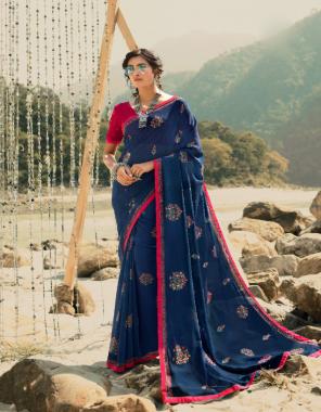 navy blue saree - georgette   blouse - banglori silk   saree length - 5.5 m   blouse length - 0.80 m [ master copy ] fabric printed work casual