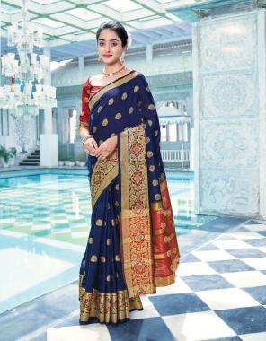 navy blue cotton fabric jacquard + weving work ethnic