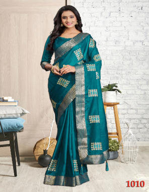 rama blue saree - silk cotton   blouse - silk saree   length - 6.30 m fabric embroidery work casual