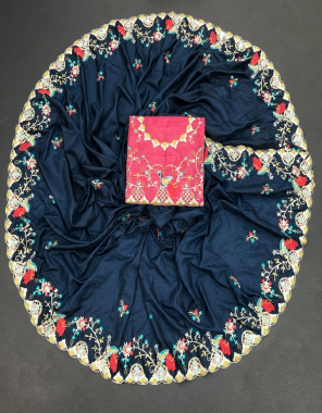 navy blue dola silk fabric embroidery work casual