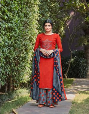 orange top - 100% pure pashmina print with heavy kashmiri embroidery ( 2.50 m)   dupatta - pure pashmina shawl with four side lace ( 2.30 m)   bottom - pure pashmina printed patiyala salwar ( 3 m approx) fabric printed work casual